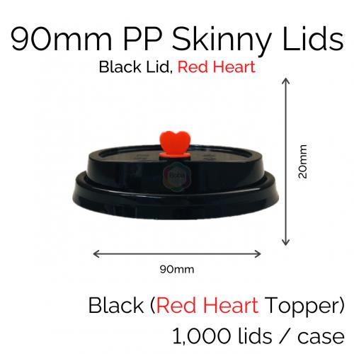 Lids - 90mm PP Skinny (Black RH) (100 pcs)