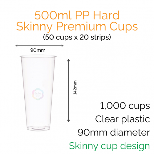 Cups - 500ml PP Hard Skinny Premium Cups (50 pcs)