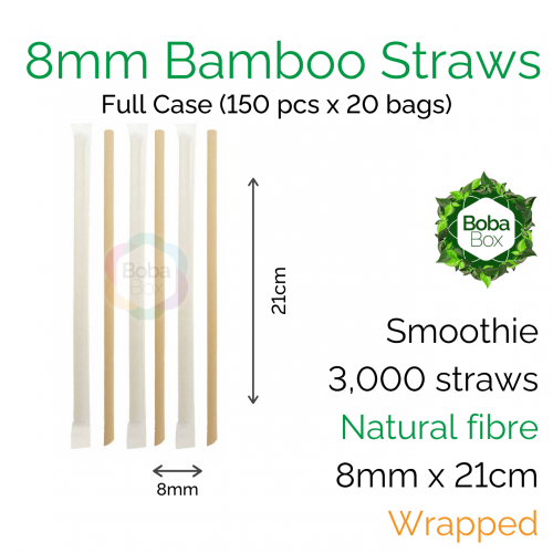 Straws - Wrapped 8mm x 21cm Bamboo Fibre (150 pcs x 20 bags)