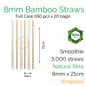 Straws - Wrapped 8mm x 21cm Bamboo Fibre (150 pcs x 20 bags)