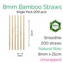 Straws - Unwrapped 8mm x 21cm Bamboo Fibre (200 pcs)