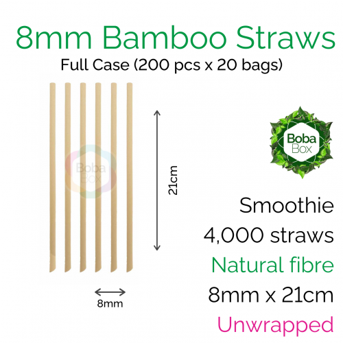 Straws - Unwrapped 8mm x 21cm Bamboo Fibre (200 pcs x 20 bags)