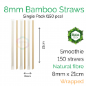 Straws - Wrapped 8mm x 21cm Bamboo Fibre (150 pcs)