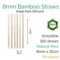 Straws - Wrapped 8mm x 21cm Bamboo Fibre (150 pcs)