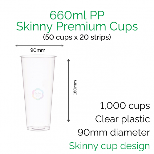 Cups - 660ml PP Skinny Premium Cups (50 pcs)
