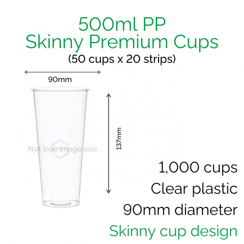 Cups - 500ml PP Skinny Premium Cups (50 pcs)