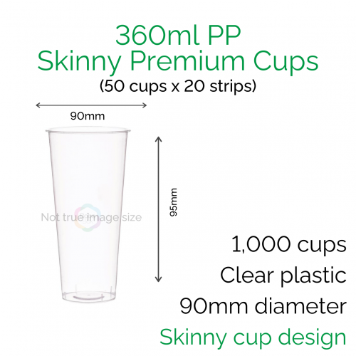 Cups - 360ml PP Skinny Premium Cups (50 pcs)