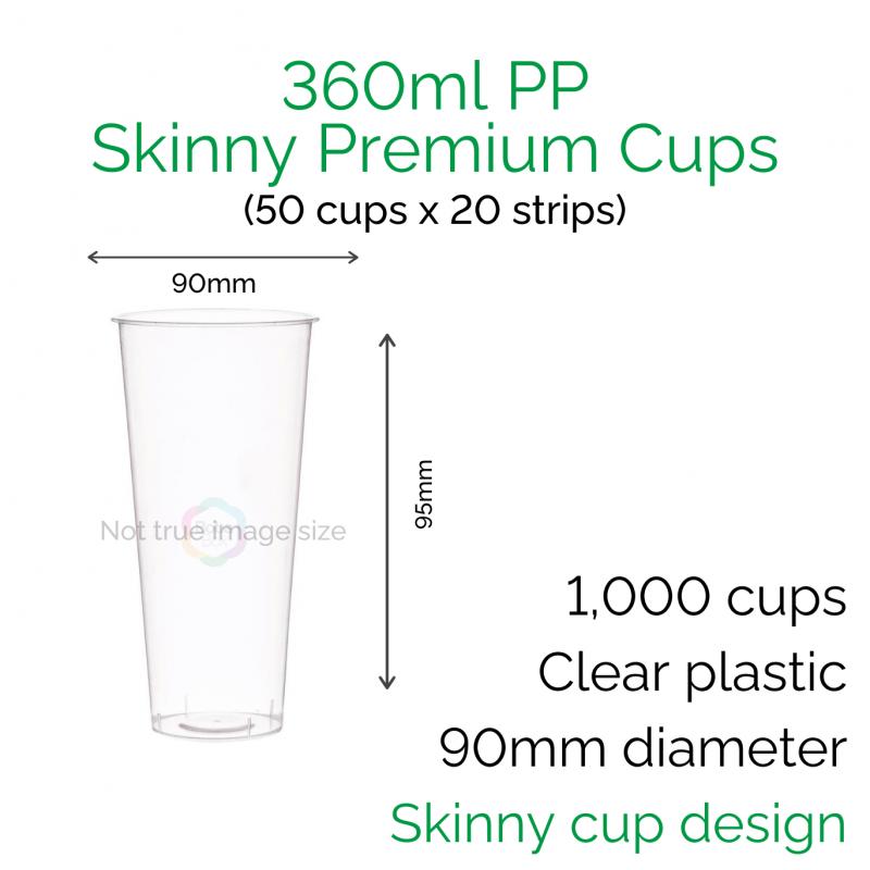 Cups - 360ml PP Skinny Premium Cups (50 pcs)