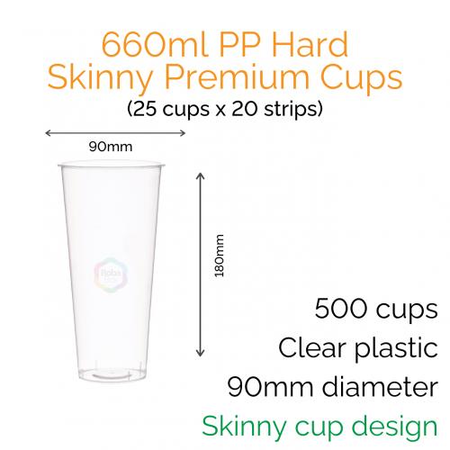 Cups - 660ml PP Hard Skinny Premium Cups (25 pcs)