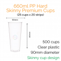 Cups - 660ml PP Hard Skinny Premium Cups (25 pcs)