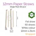 Straws - Wrapped 12mm x 21cm Sharp Paper White (50 pcs)