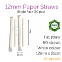 Straws - Wrapped 12mm x 21cm Sharp Paper White (30 pcs)