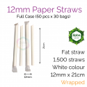 Straws - Wrapped 12mm x 21cm Sharp Paper White (50 pcs x 30 bags)