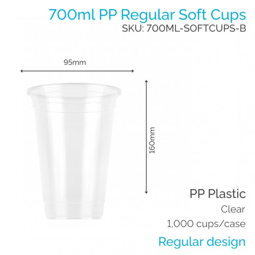 Cups - 700ml PP Soft Cups (50 pcs)