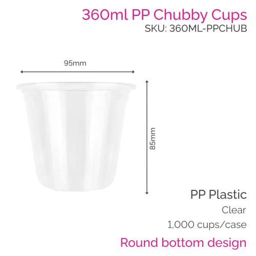 Cups - 360ml PP Chubby Cups (50 pcs)