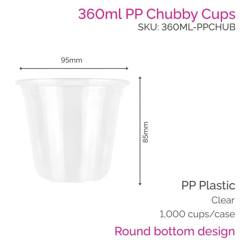 Cups - 360ml PP Chubby Cups (50 pcs)