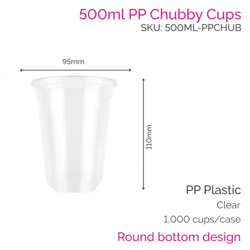 Cups - 500ml PP Chubby Cups (50 pcs)