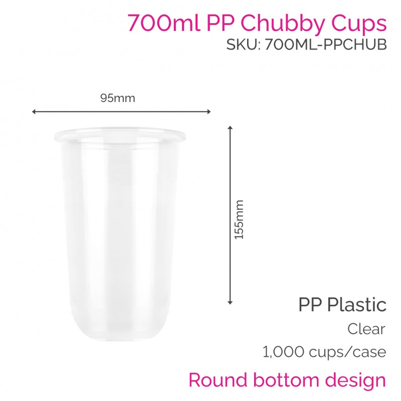 Cups - 700ml PP Chubby Cups (50 pcs)