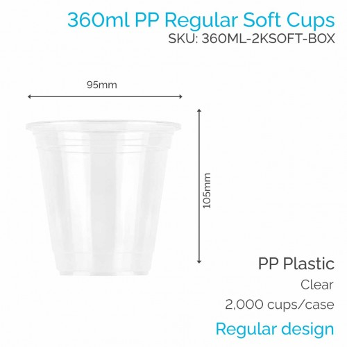Cups - 360ml PP Soft Cups (100 pcs)