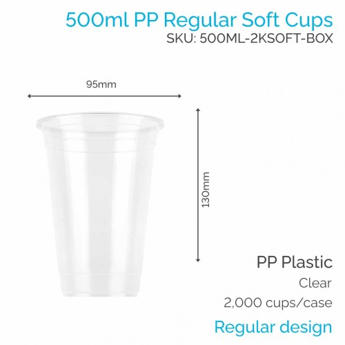 Cups - 500ml PP Soft Cups (100 pcs)
