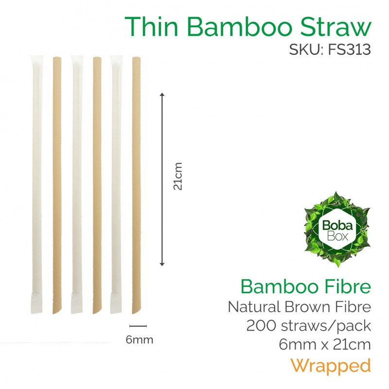 Straws - Wrapped 6mm x 21cm Bamboo Fibre (200 pcs)