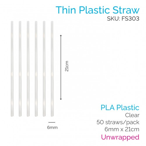 Straws - Unwrapped 6mm x 21cm PLA Clear (50 pcs)