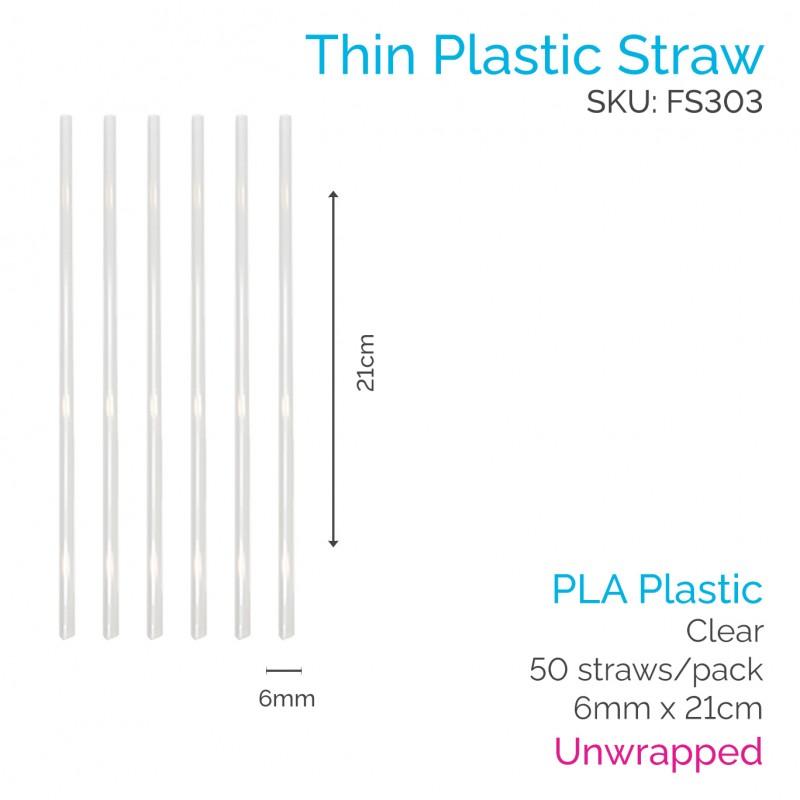 6mm PLA Straws - 21cm Clear  Unwrapped