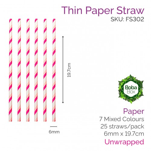 Straws - Unwrapped 6mm x 19.7cm Paper Coloured (25 pcs)