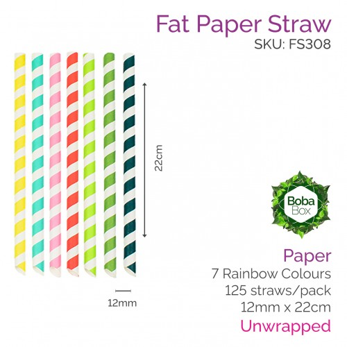 12mm Paper Straws - 22cm Sharp Rainbow (125 pcs)
