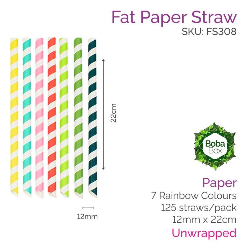 12mm Paper Straws - 22cm Sharp Rainbow (125 pcs)