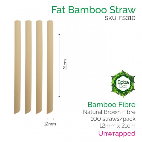 Straws - Unwrapped 12mm x 21cm Bamboo Fibre (100 pcs)