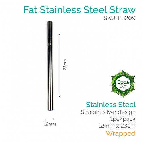 Straws - Straight 12mm x 23cm Stainless Steel (1 pc)