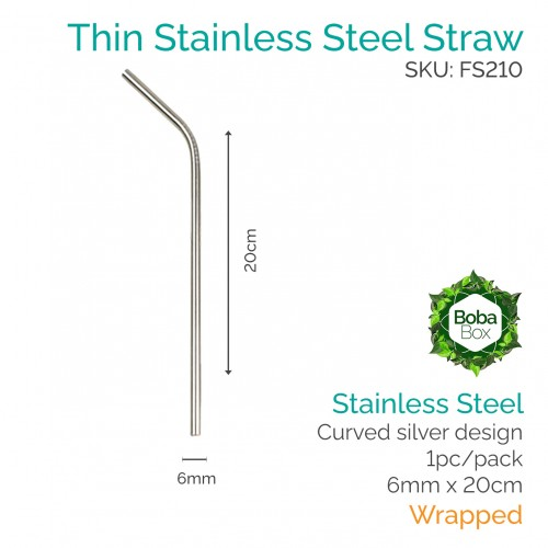 Straws - Curved 6mm x 20cm Stainless Steel (1 pc)