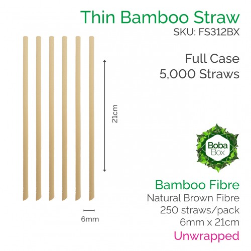 Straws - Unwrapped 6mm x 21cm Bamboo Fibre (250 pcs)