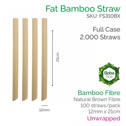 Straws - Unwrapped 12mm x 21cm Bamboo Fibre - Full Case