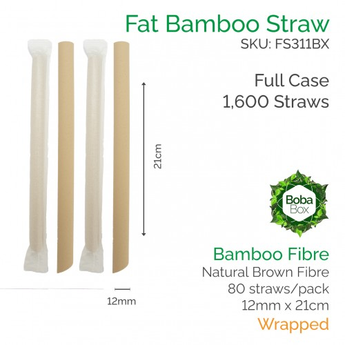 Straws - Wrapped 12mm x 21cm Bamboo Fibre (80 pcs)