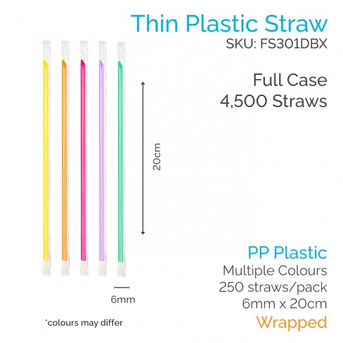 Straws - Wrapped 6mm x 20cm PP Coloured (250 pcs) - Full Case