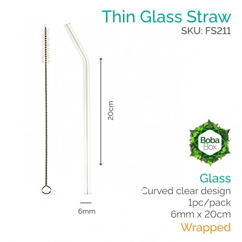 Straws - Curved 6mm x 20cm Glass (1 pc)