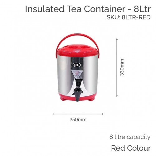 Insulated Red Tea Container - 8Ltr (1 pc)