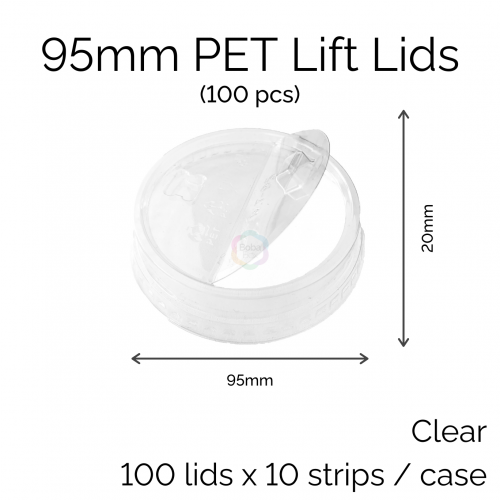 Lids - 95mm PET Lift Lids (100 pcs)