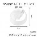 Lids - 95mm PET Lift Lids (100 pcs)