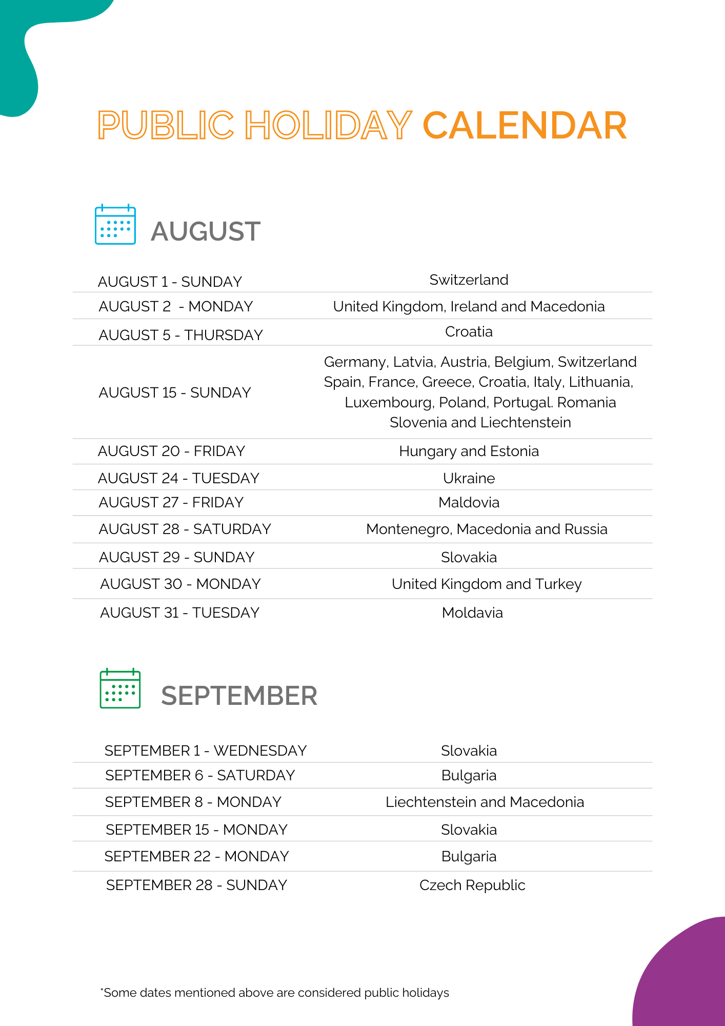 Public Holidays in August and September 2021
