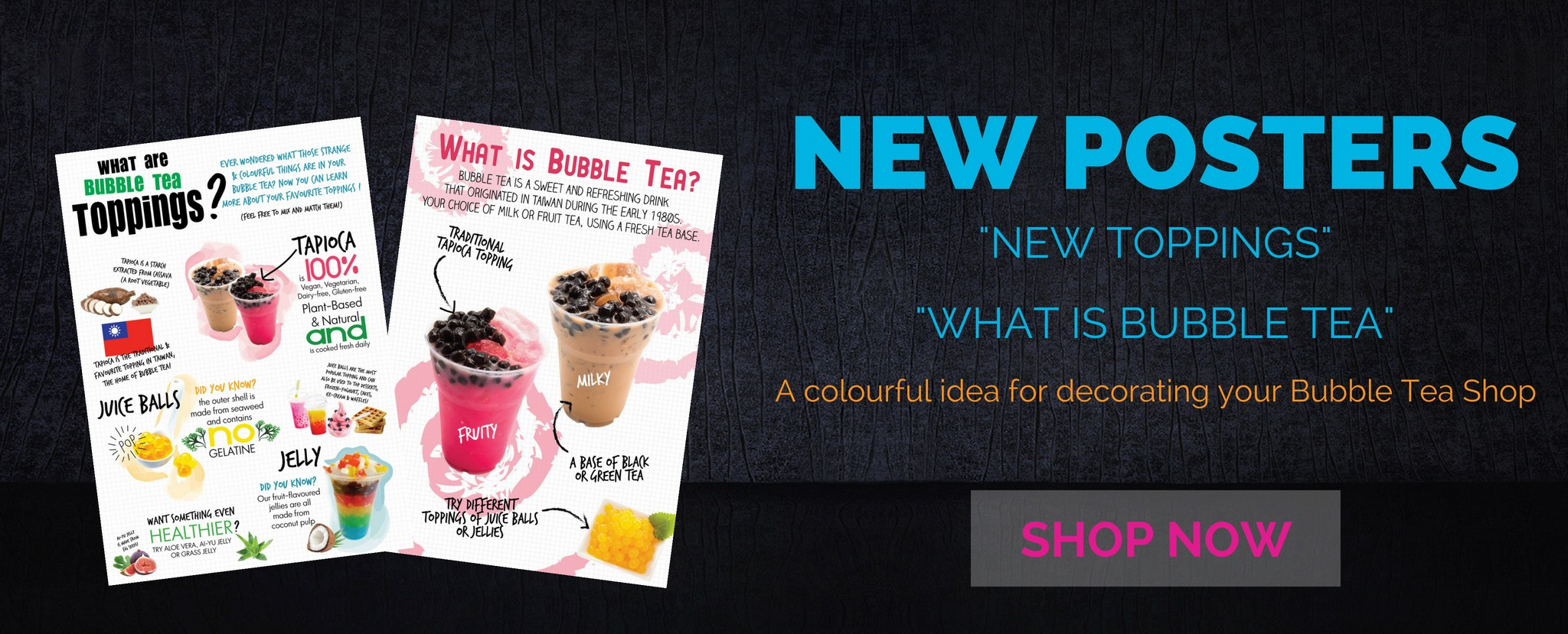 Check Boba Box New Posters. A colourful idea for decorating your Bubble Tea Shop